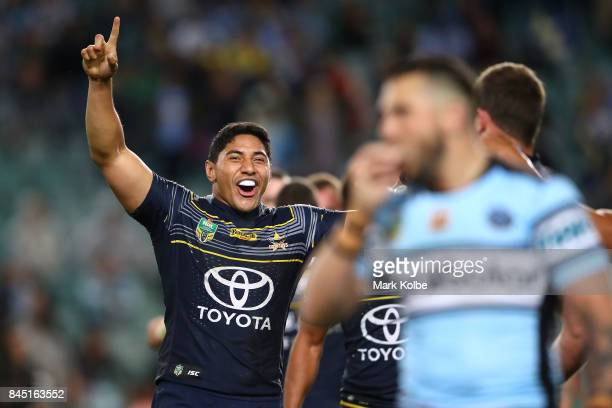 Jason Taumalolo of the Cowboys celebrates victory during the NRL Elimination Final match between the Cronulla Sharks and the North Queensland Cowboys...