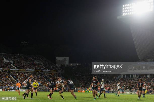 Jason Taumalolo of the Cowboys charges forward during the round five NRL match between the New Zealand Warriors and the North Queensland Cowboys at...