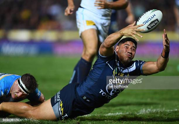 Jason Taumalolo of the Cowboys drops the ball during the round seven NRL match between the North Queensland Cowboys and the Gold Coast Titans at...