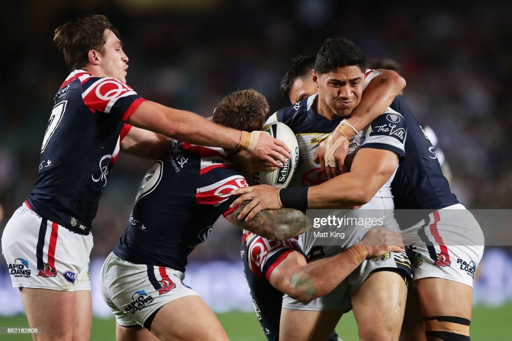 Jason Taumalolo of the Cowboys is tackled during the NRL Preliminary Final match between the Sydney Roosters and the North Queensland Cowboys at Allianz Stadium on September 23, 2017 in Sydney, Australia.
