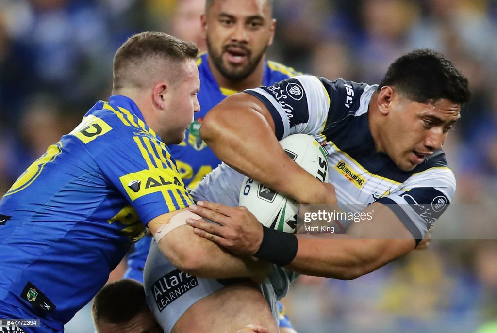 Jason Taumalolo of the Cowboys is tackled during the NRL Semi Final match between the Parramatta Eels and the North Queensland Cowboys at ANZ Stadium on September 16, 2017 in Sydney, Australia.