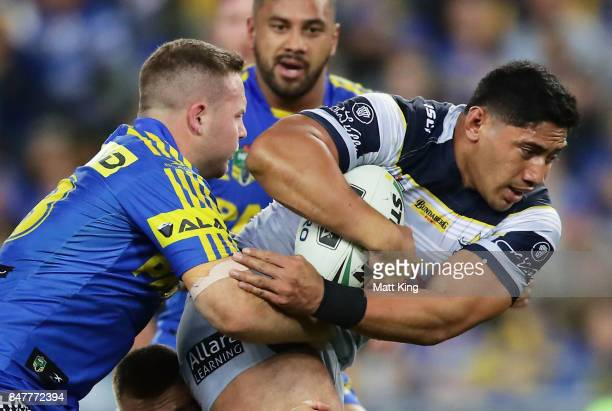 Jason Taumalolo of the Cowboys is tackled during the NRL Semi Final match between the Parramatta Eels and the North Queensland Cowboys at ANZ Stadium...
