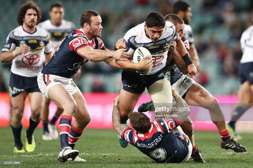 Jason Taumalolo of the Cowboys is tackled during the round 21 NRL match between the Sydney Roosters and the North Queensland Cowboys at Allianz Stadium on August 4, 2018 in Sydney, Australia.