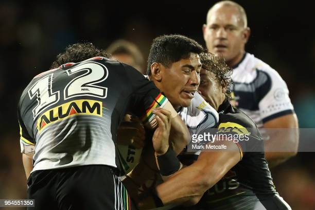 Jason Taumalolo of the Cowboys is tackled during the round nine NRL match between the Penrith Panthers and the North Queensland Cowboys at Carrington...