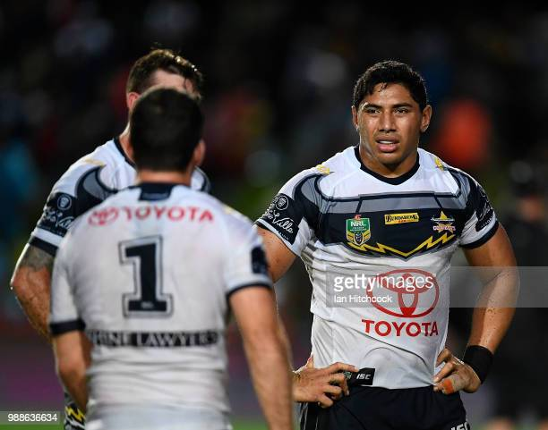 Jason Taumalolo of the Cowboys looks dejected after losing the round 16 NRL match between the South Sydney Rabbitohs and the North Queensland Cowboys...