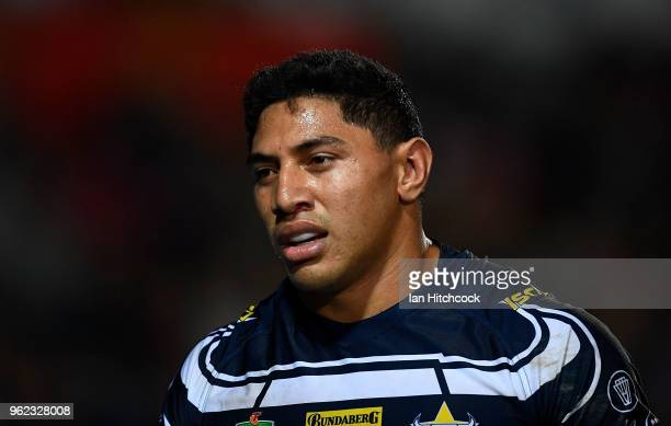 Jason Taumalolo of the Cowboys looks on during the round 12 NRL match between the North Queensland Cowboys and the Melbourne Storm at 1300SMILES...
