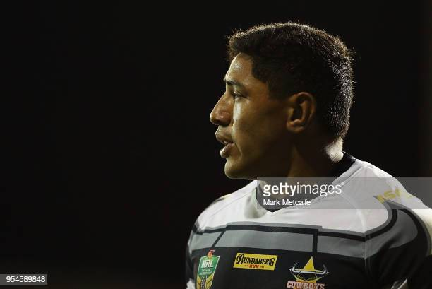Jason Taumalolo of the Cowboys looks on during the round nine NRL match between the Penrith Panthers and the North Queensland Cowboys at Carrington...