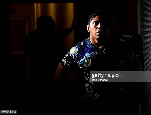 Jason Taumalolo of the Cowboys runs out onto the field at the start of the round 20 NRL match between the North Queensland Cowboys and the Canterbury...