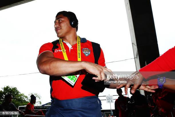 Jason Taumalolo of Tonga arrives ahead of the 2017 Rugby League World Cup Semi Final match between Tonga and England at Mt Smart Stadium on November...