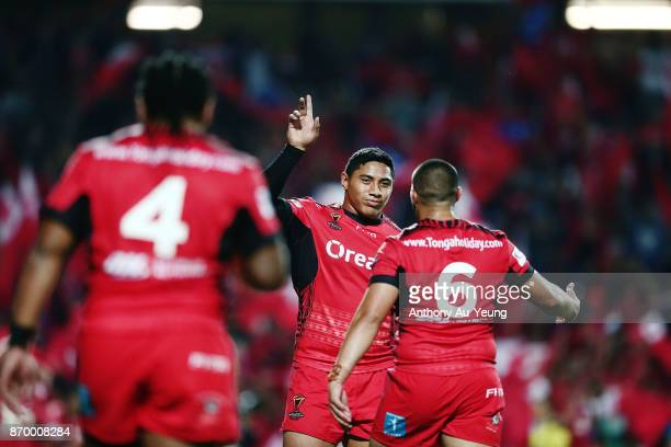 Jason Taumalolo of Tonga celebrates after winning the 2017 Rugby League World Cup match between Samoa and Tonga at Waikato Stadium on November 4 2017...