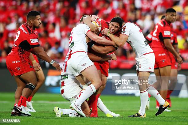 Jason Taumalolo of Tonga charges forward during the 2017 Rugby League World Cup Semi Final match between Tonga and England at Mt Smart Stadium on...