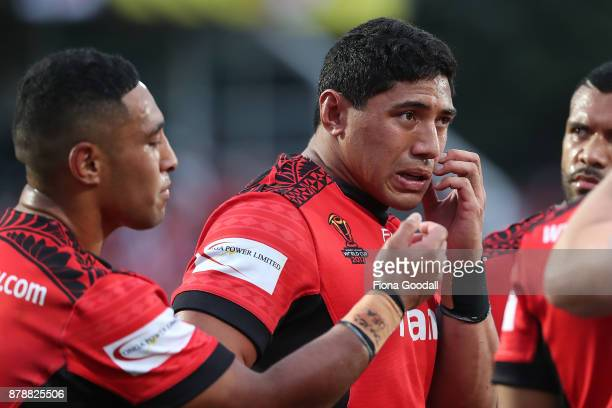 Jason Taumalolo of Tonga during the 2017 Rugby League World Cup Semi Final match between Tonga and England at Mt Smart Stadium on November 25 2017 in...