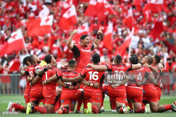 Jason Taumalolo of Tonga leads the challenge during the 2017 Rugby League World Cup Semi Final match between Tonga and England at Mt Smart Stadium on...