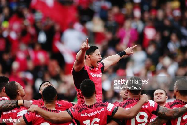 Jason Taumalolo of Tonga leads the Sipi Tau against the Kiwis during the 2017 Rugby League World Cup match between the New Zealand Kiwis and Tonga at...