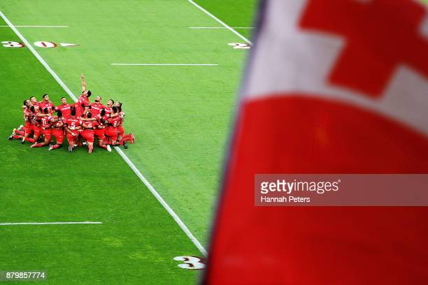 Jason Taumalolo of Tonga leads the Sipi Tau ahead of the 2017 Rugby League World Cup Semi Final match between Tonga and England at Mt Smart Stadium...