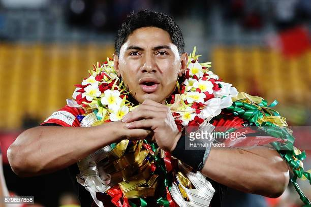 Jason Taumalolo of Tonga leads the Sipi Tau for the crowd after losing the 2017 Rugby League World Cup Semi Final match between Tonga and England at...