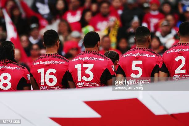 Jason Taumalolo of Tonga lines up at the national anthem during the 2017 Rugby League World Cup match between the New Zealand Kiwis and Tonga at...