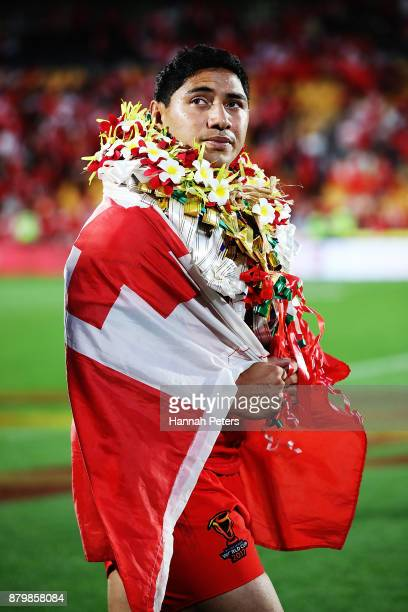 Jason Taumalolo of Tonga looks out of Tonga the crowd after losing the 2017 Rugby League World Cup Semi Final match between Tonga and England at Mt...
