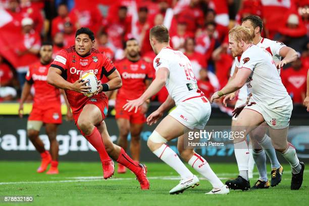 Jason Taumalolo of Tonga makes a break during the 2017 Rugby League World Cup Semi Final match between Tonga and England at Mt Smart Stadium on...