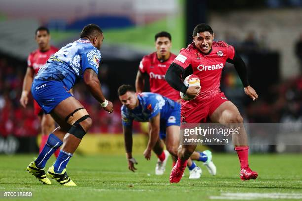 Jason Taumalolo of Tonga makes a run during the 2017 Rugby League World Cup match between Samoa and Tonga at Waikato Stadium on November 4 2017 in...