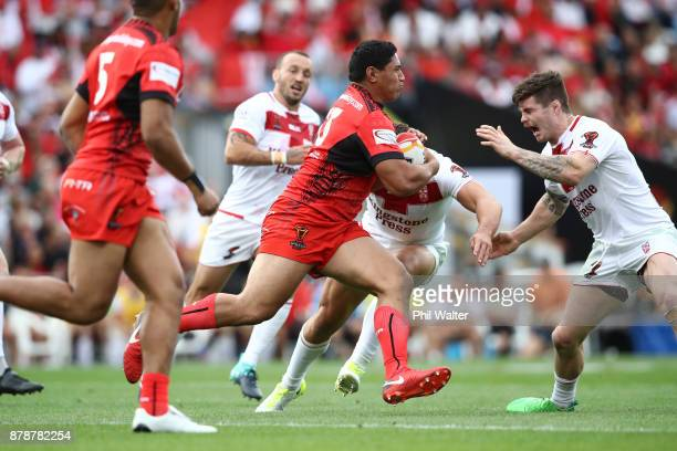 Jason Taumalolo of Tonga on the attack during the 2017 Rugby League World Cup Semi Final match between Tonga and England at Mt Smart Stadium on...
