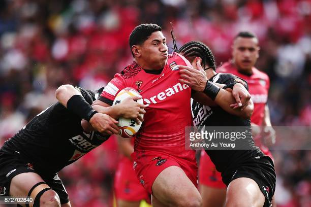 Jason Taumalolo of Tonga on the charge during the 2017 Rugby League World Cup match between the New Zealand Kiwis and Tonga at Waikato Stadium on...