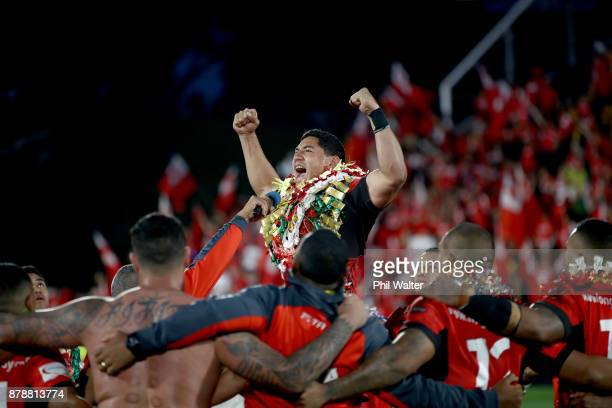 Jason Taumalolo of Tonga performs a challenge following the 2017 Rugby League World Cup Semi Final match between Tonga and England at Mt Smart...