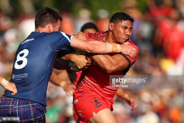 Jason Taumalolo of Tonga runs the ball during the 2017 Rugby League World Cup match between Scotland and Tonga at Barlow Park on October 29 2017 in...