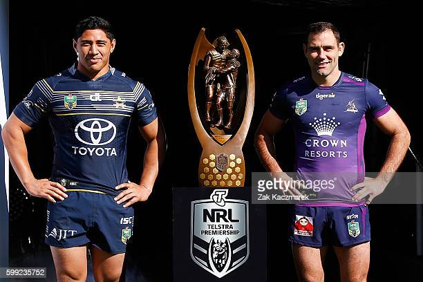 Jason Taumololo of the Cowboys and Cameron Smith of the Storm pose during the 2016 NRL Finals series launch at Allianz Stadium on September 5 2016 in...