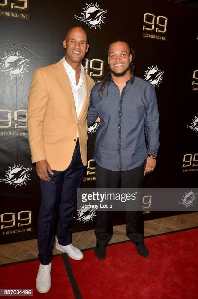 Jason Taylor and Channing Crowder attend The Miami Dolphins 'Hall of Fame Celebration' hosting Jason Taylor at Hard Rock Stadium on December 02 2017...