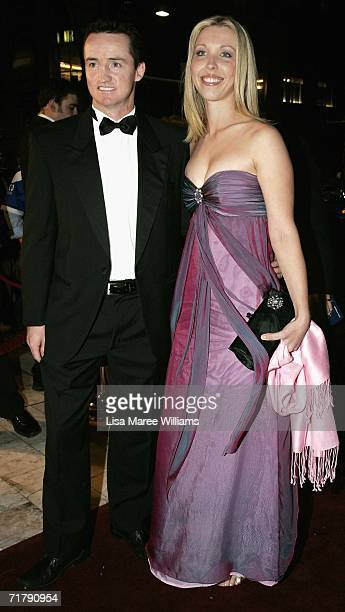 Jason Taylor coach of the Parramatta Eels and partner Larna Birchall arrive at the Dally M Awards at Sydney Town Hall September 5 2006 in Sydney...