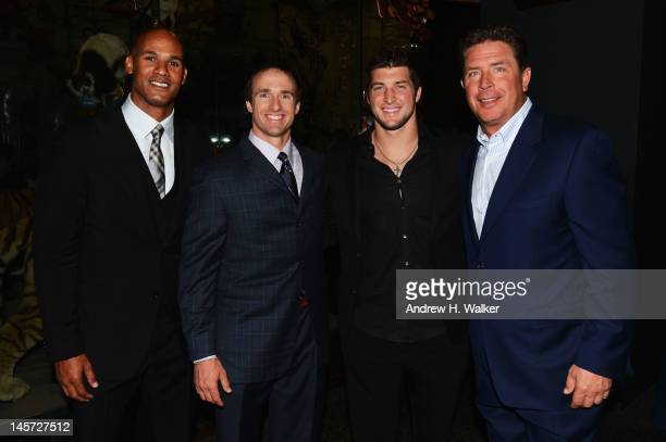 Jason Taylor Drew Brees Tim Tebow and Dan Marino attend the Samsung's Annual Hope for Children gala at the American Museum of Natural History on June...