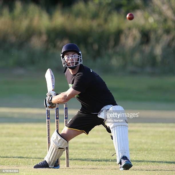 Jason Taylor of Northampton Town looks to play a shot during a 20/20 Cricket Match between Bold Dragoon CC and Northampton Town FC in aid of the Leon...