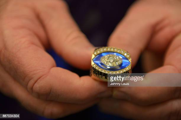 Jason Taylor Pro Football Hall of Fame ring during The Miami Dolphins 'Hall of Fame Celebration' hosting Jason Taylor at Hard Rock Stadium on...