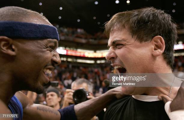 Jason Terry and owner Mark Cuban of the Dallas Mavericks celebrate after defeating the Phoenix Suns in game six of the Western Conference Finals...