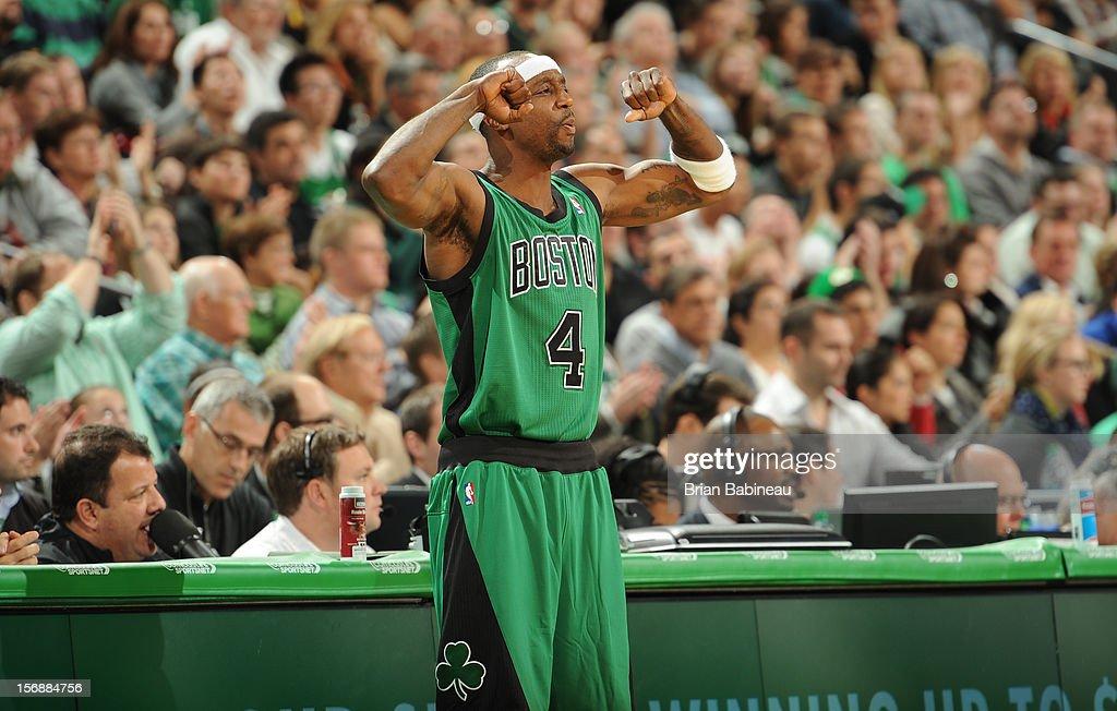 Jason Terry #4 of the Boston Celtics celebrates during the game against the Oklahoma City Thunder on November 23, 2012 at the TD Garden in Boston, Massachusetts.