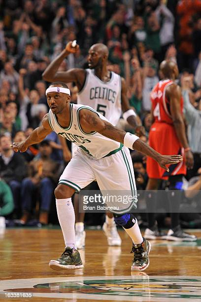 Jason Terry of the Boston Celtics celebrates his game winning shot against the Atlanta Hawks on March 8 2013 at the TD Garden in Boston Massachusetts...