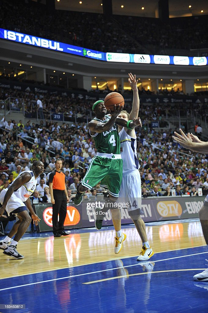 Jason Terry #4 of the Boston Celtics drives to the basket against Bojan Bogdanovic #44 of the Fenerbahce Ulker during the NBA Europe Live Tour on October 5, 2012 at the Ulker Sports Arena in Istanbul, Asia.