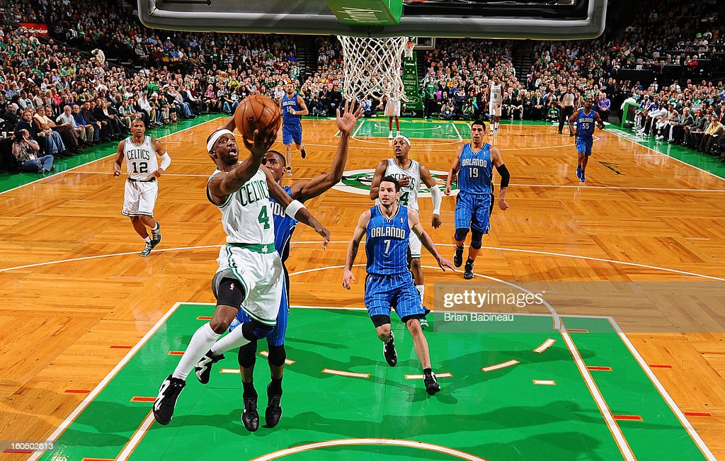 Jason Terry #4 of the Boston Celtics shoots a layup against the Orlando Magic on February 1, 2013 at the TD Garden in Boston, Massachusetts.