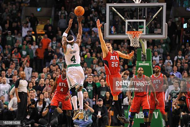 Jason Terry of the Boston Celtics shoots to win the game against the Atlanta Hawks on March 8 2013 at the TD Garden in Boston Massachusetts NOTE TO...