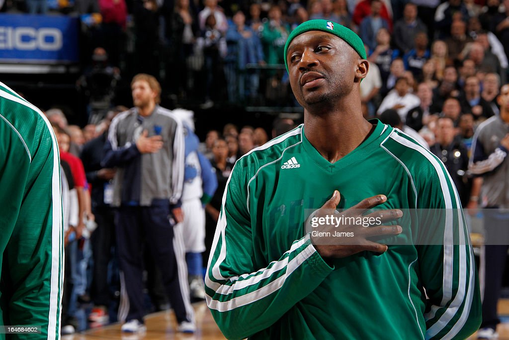 Jason Terry #4 of the Boston Celtics stands on the sideline before the game against the Dallas Mavericks on March 22, 2013 at the American Airlines Center in Dallas, Texas.