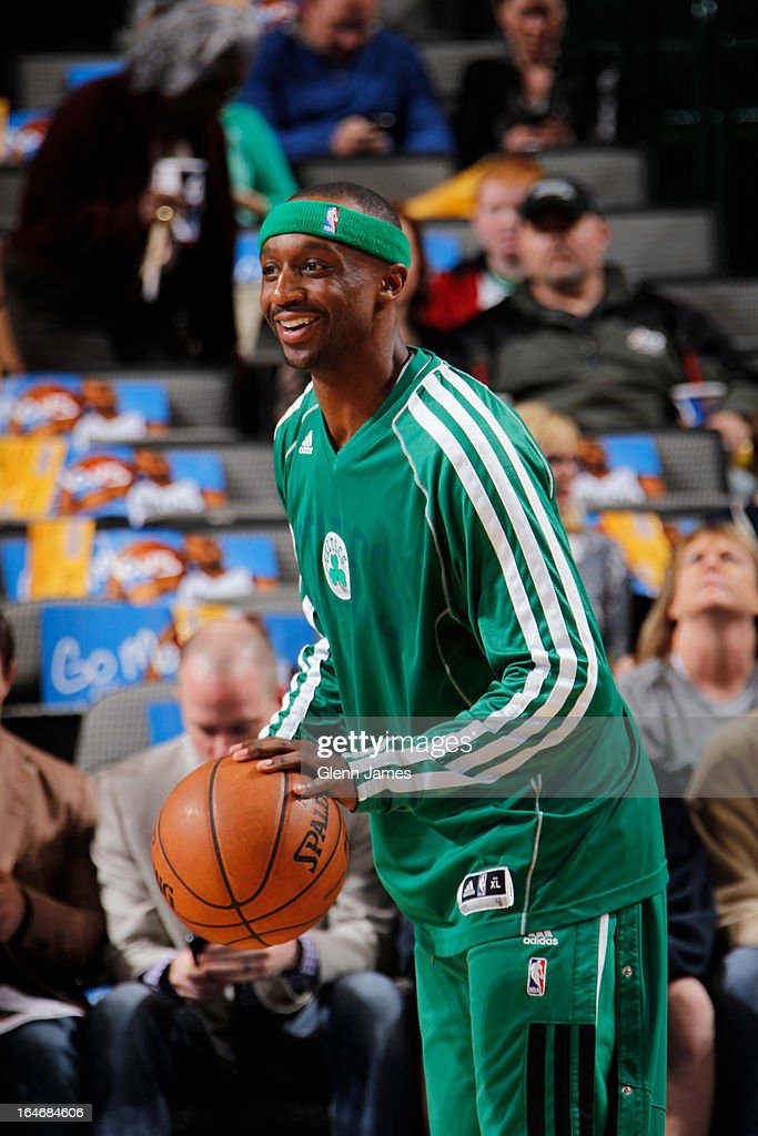 Jason Terry #4 of the Boston Celtics warms up before the game against the Dallas Mavericks on March 22, 2013 at the American Airlines Center in Dallas, Texas.