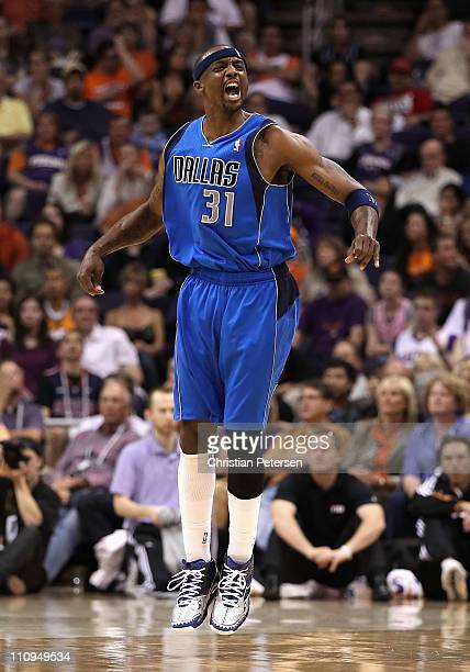 Jason Terry of the Dallas Mavericks celebrates after hitting a three point shot against the Phoenix Suns during the NBA game at US Airways Center on...