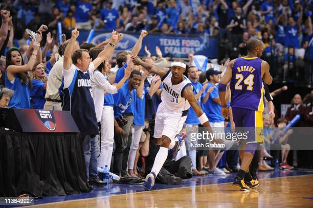 Jason Terry of the Dallas Mavericks celebrates after hitting a three against the Los Angeles Lakers during game Four of the Western Conference...