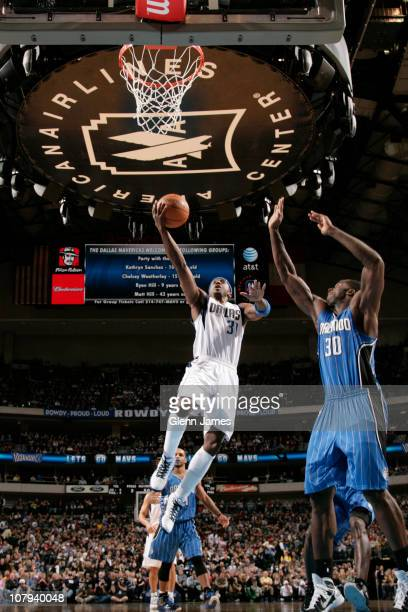 Jason Terry of the Dallas Mavericks dribbles against Brandon Bass of the Orlando Magic during a game on January 8 2011 at the American Airlines...