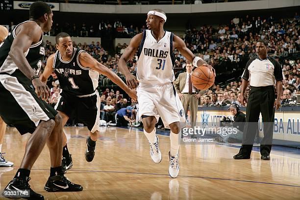 Jason Terry of the Dallas Mavericks drives the ball against Malik Hairston of the San Antonio Spurs during the game on November 18 2009 at American...