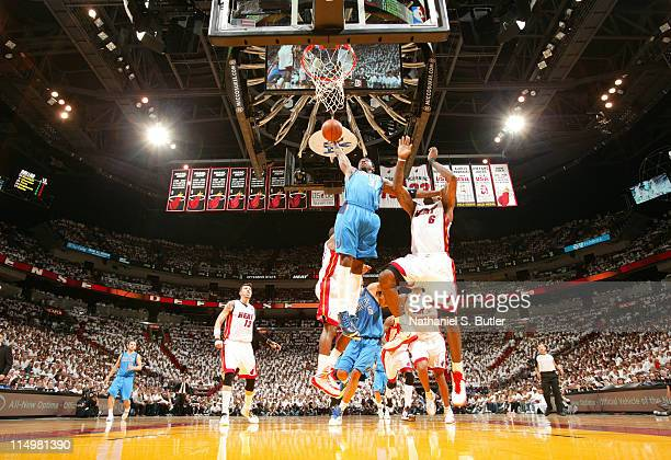 Jason Terry of the Dallas Mavericks dunks against LeBron James of the Miami Heat during Game One of the 2011 NBA Finals on May 31 2011 at the...