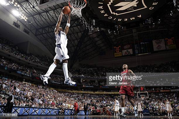 Jason Terry of the Dallas Mavericks dunks against the Miami Heat during Game Six of the 2006 NBA Finals on June 20 2006 at the American Airlines...