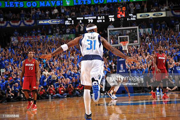 Jason Terry of the Dallas Mavericks reacts after a made shot against the Miami Heat during Game Four of the 2011 NBA Finals on June 7 2011 at the...