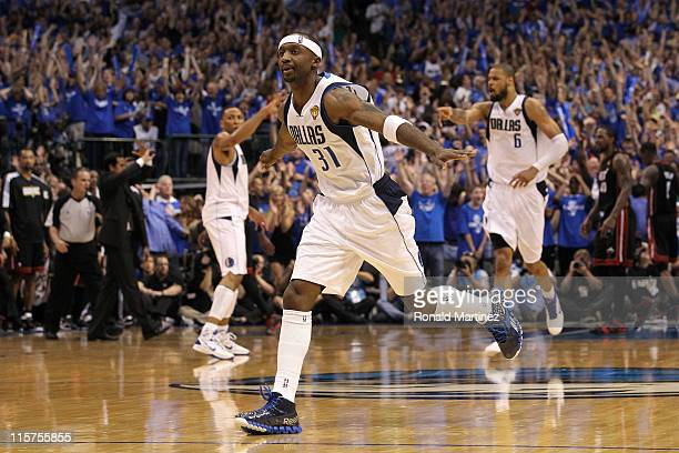 Jason Terry of the Dallas Mavericks reacts after he made a 3-point shot late in the fourth quarter against the Miami Heat in Game Five of the 2011...